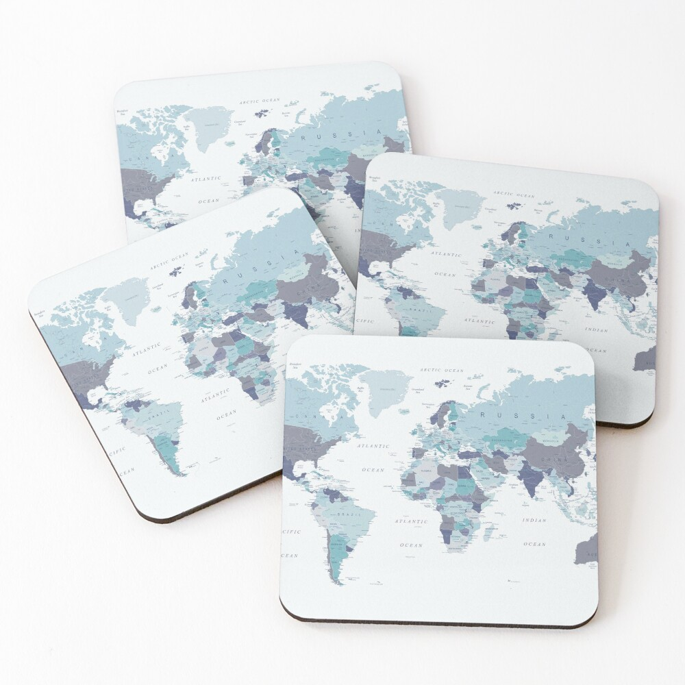World Map in Blue Coasters (Set of 4)