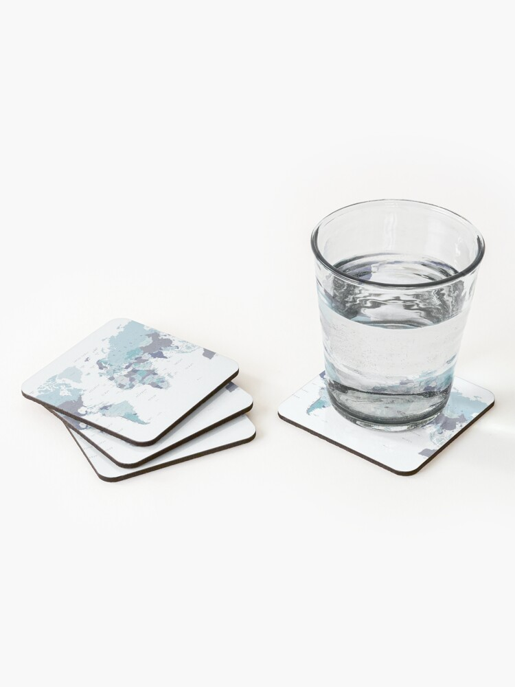 Alternate view of World Map in Blue Coasters (Set of 4)