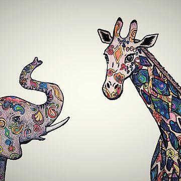 Colorful Elephant and Giraffe by Creatividad