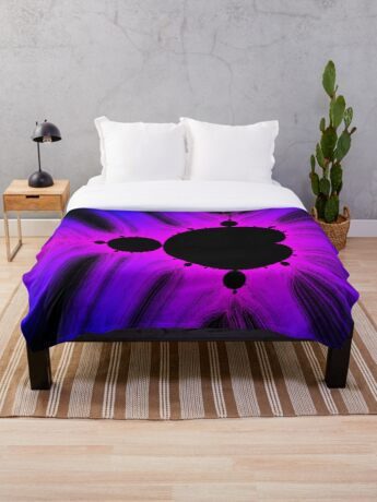 Blue Magenta Kirlian Mandelbrot Throw Blanket