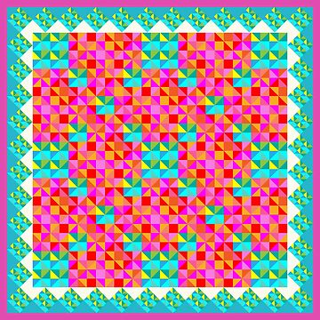 Abstract Colorful Geo Diamond Pattern with Border in Pinks/Turqs by IcArtsyOrigin8