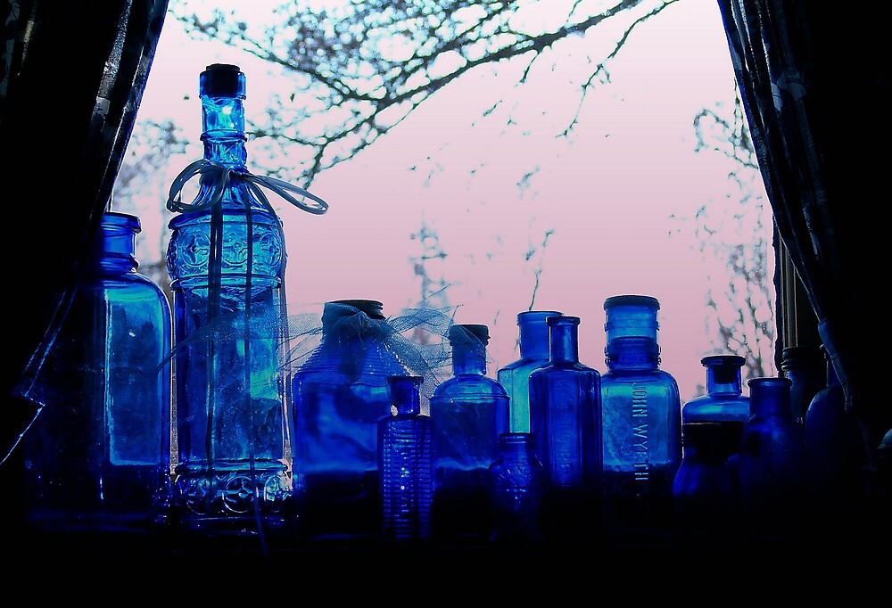 Blue Bottles in a Window by Robert W. Spath II