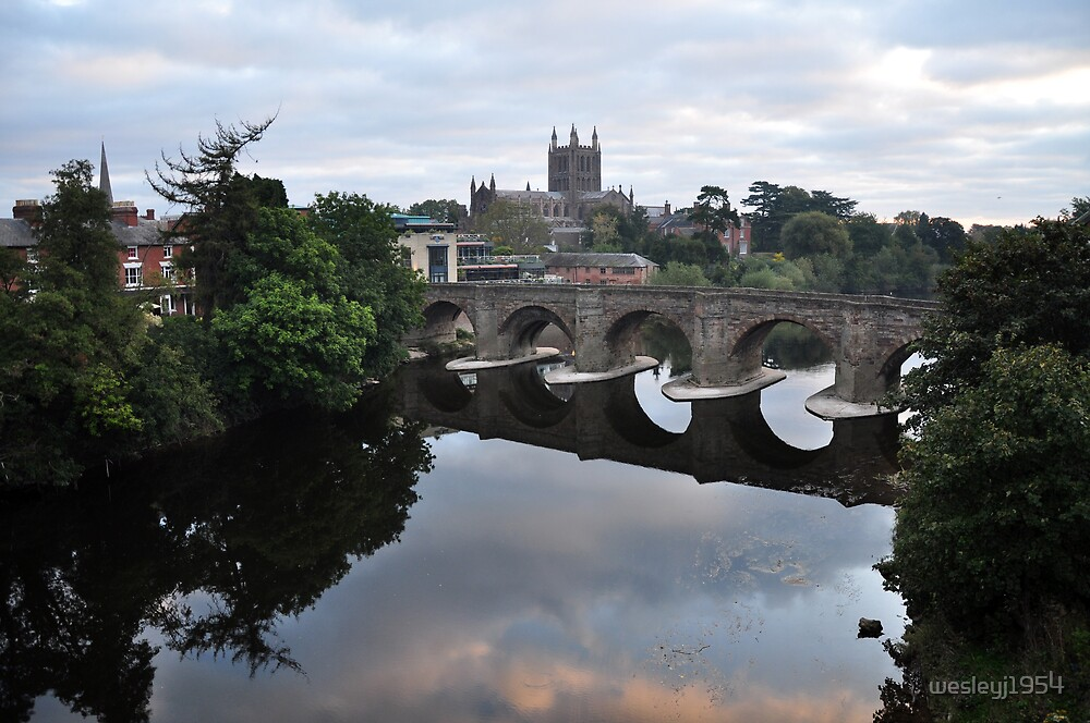 The old Bridge and Cathedral, Hereford by wesleyj1954