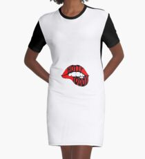Hotty Toddy lips Graphic T-Shirt Dress