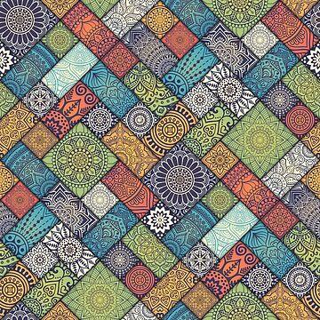 Diagonal Floral Tiles | BOHEMIAN - VINTAGE - MANDALAS by mcaussieb