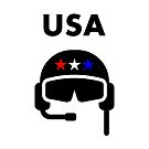 USA Airplane Pilot Helmet Color by TinyStarAmerica
