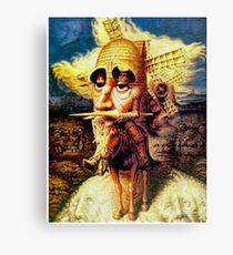 DON QUIXOTE: Weinlese-abstraktes Dali, das am Windmühlen-Druck kippt Leinwanddruck