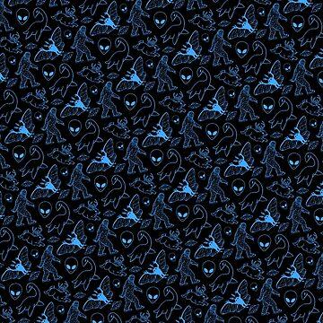 Cryptid Pattern (Blue Lines) by dianeleonardart