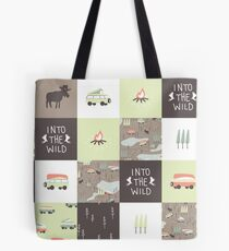 Into the Wild - Faux Quilt Pattern Tote Bag