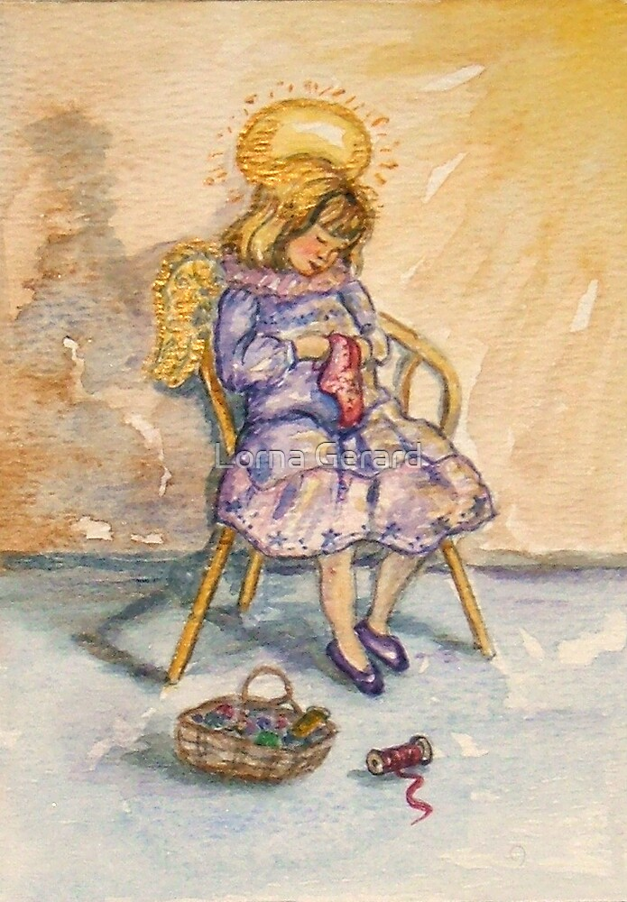 An Angel quietly sews... by Lorna Gerard