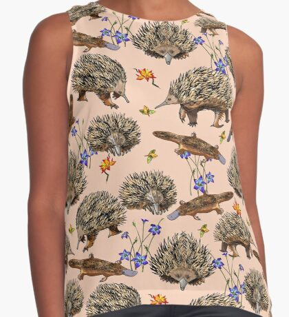 monotremes and wildflowers on apricot Contrast Tank