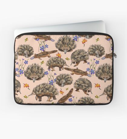 monotremes and wildflowers on apricot Laptop Sleeve