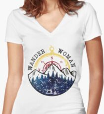 Camping Wander Woman Hiking Vintage Women's Fitted V-Neck T-Shirt