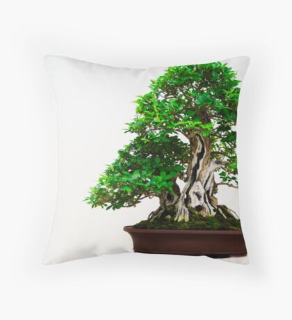 Green Bonsai Throw Pillow