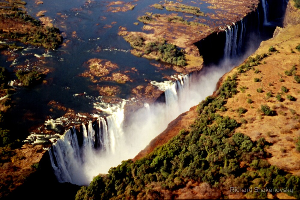 Victoria Falls from the sky by Richard Shakenovsky