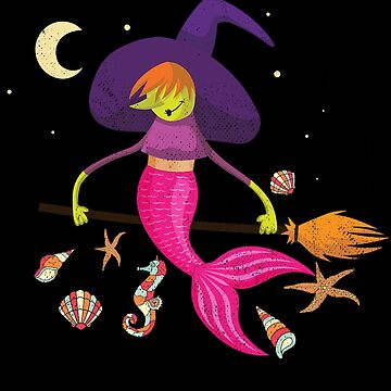 Funny Mermaid Witch Halloween  by donpakito