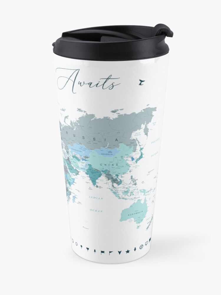 Alternate view of Adventure Awaits World Map in Teal Travel Mug