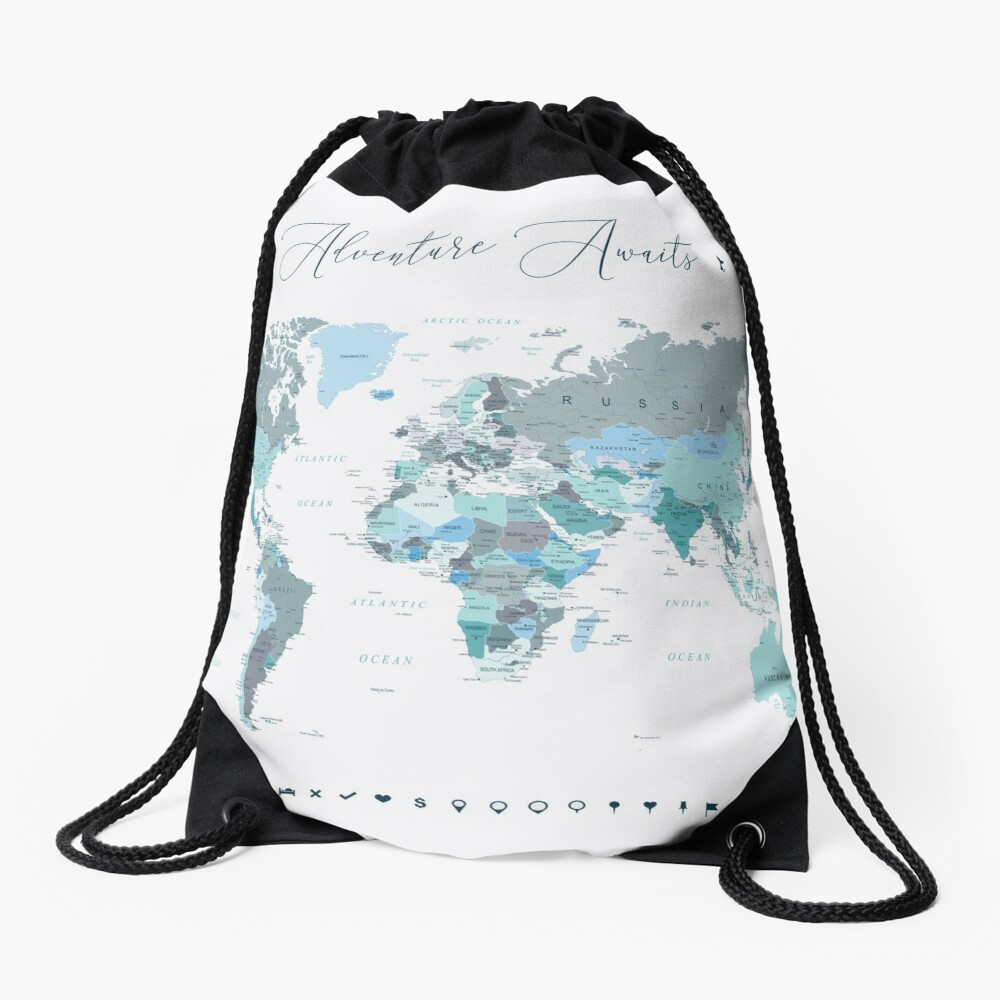 Adventure Awaits World Map in Teal Drawstring Bag