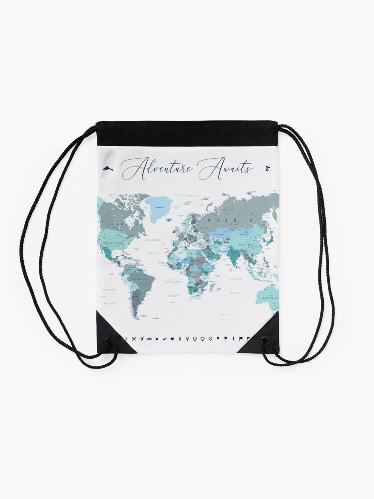 Alternate view of Adventure Awaits World Map in Teal Drawstring Bag
