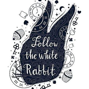 Follow the white rabbit vintage illustration with rabbit's head. by MilaOkie