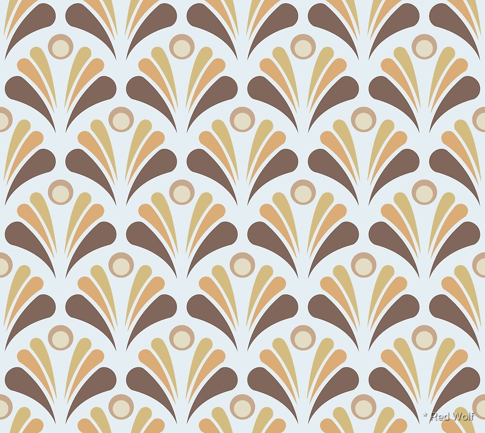 Geometric Pattern: Art Deco: Peacock: Earth by * Red Wolf