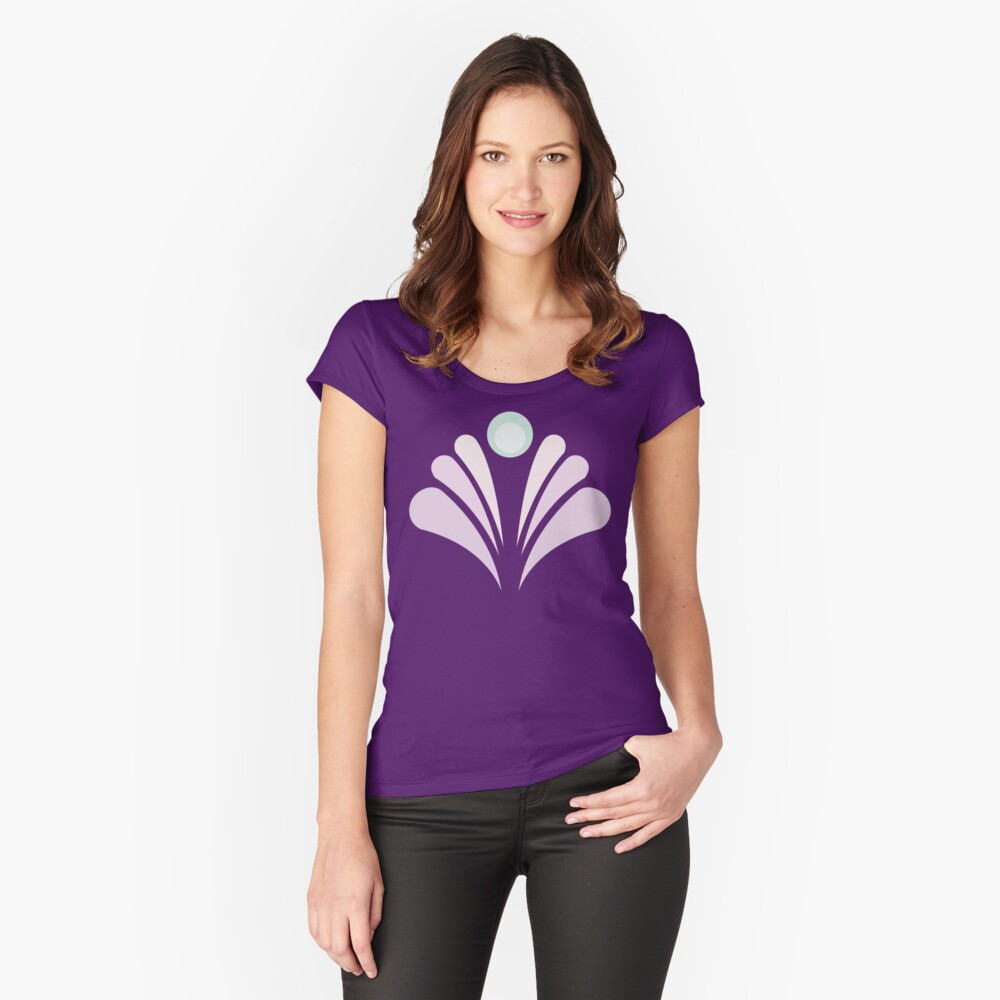Geometric Pattern: Art Deco: Peacock: Marshmallow Women's Fitted Scoop T-Shirt Front
