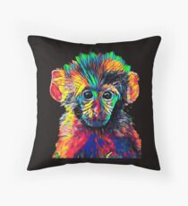 Cute Baby Monkey Colored Design Throw Pillow