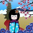 kokeshi with pagoda by Kerry  Youde