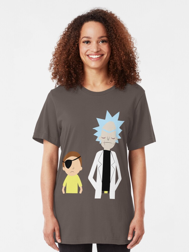 Alternate view of Evil Rick and Morty [PLAIN] Slim Fit T-Shirt
