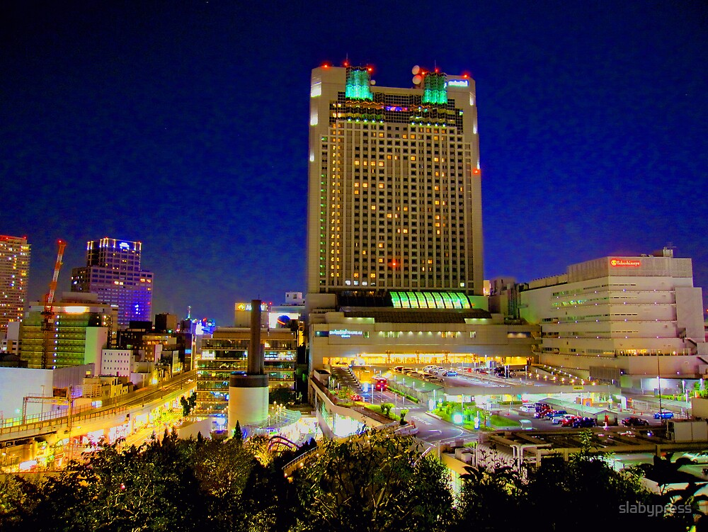 Hotel from Namba Parks at night by slabypress