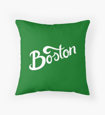 Boston Hand Lettering Throw Pillow