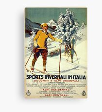 Early 1920s winter sports Italy travel advert Alps Canvas Print