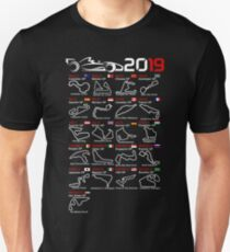 Calendar race cars 2019 named circuits Unisex T-Shirt