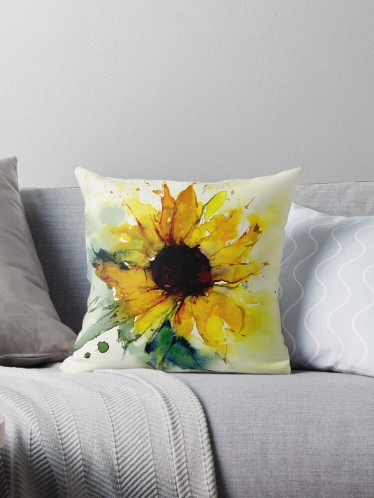 Quot Sunflower Quot Throw Pillow By Welallmwel Redbubble