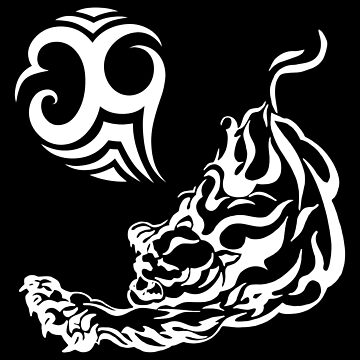 TIGER FIRE Asian Art Style Tattoo Design for Wild Animal Lovers by mrkprints