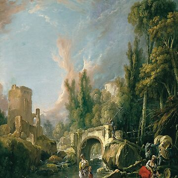 River Landscape with Ruin and Bridge-Francois Boucher by LexBauer