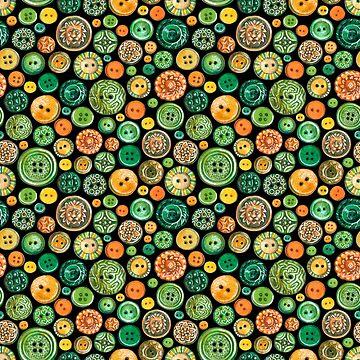 Pattern with buttons on black background by ptitsa-tsatsa