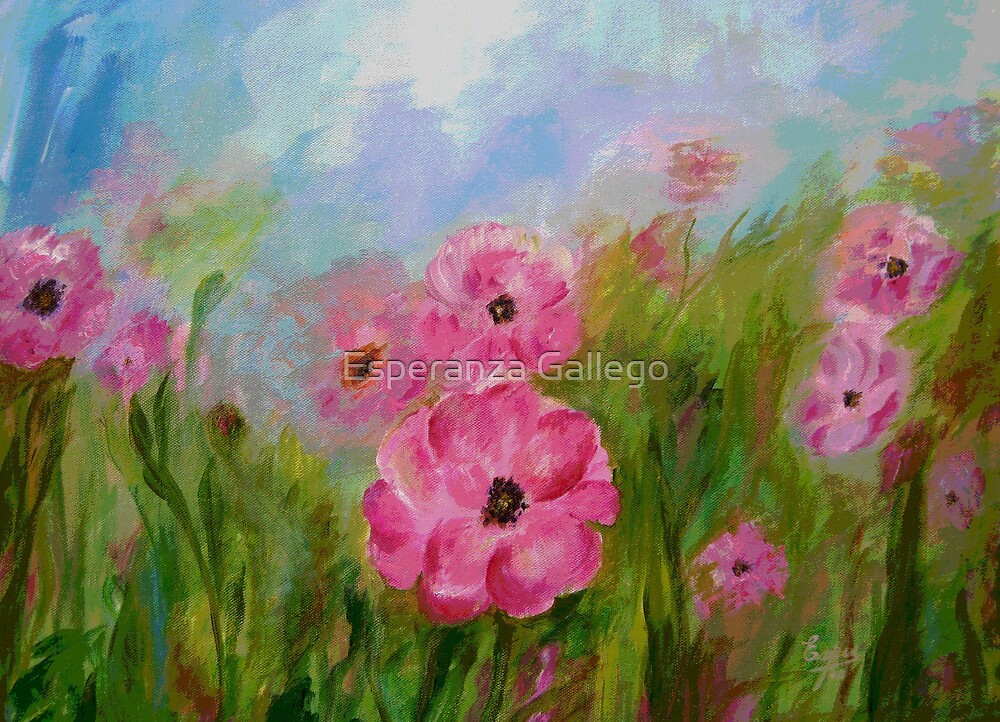 Field of flowers acrylic painting by esperanza gallego for Floral acrylic paintings
