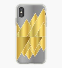 pattern, gold, silver, mountains, triangle, geometry,  iPhone Case