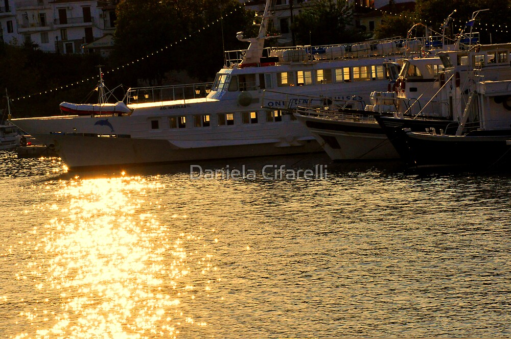 SKIATHOS - Golden ships at the Old Harbour -  by Daniela Cifarelli