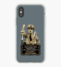 """Charlie Chaplin Quotes - """"Dictators Free Themselves But They Enslave The People"""" iPhone Case"""