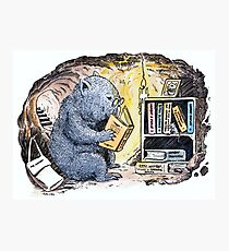 Mr Wombat Reads Photographic Print