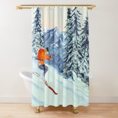 Skiing - The Clear Leader Shower Curtain