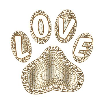 Abstract Ink Dog Paw Print Love Text Aged Effect by Almdrs