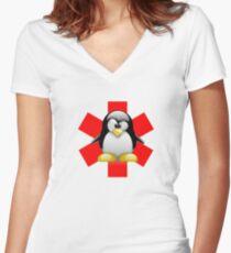 LINUX TUX PENGUIN HOSPITAL Women's Fitted V-Neck T-Shirt