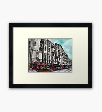 Savannah Georgia USA watercolour  and ink cityscape drawing Framed Print