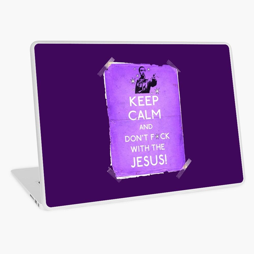 Behalte Ruhe und fink nicht mit dem Jesus Laptop Folie