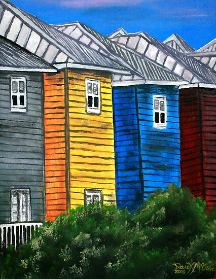 Beach houses acrylic painting modern art posters by for Beach house prints