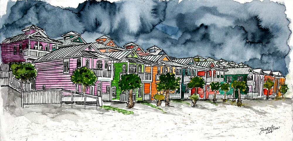 beach houses watercolour painting modern art by derekmccrea