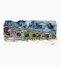 beach houses watercolour painting modern art Photographic Print